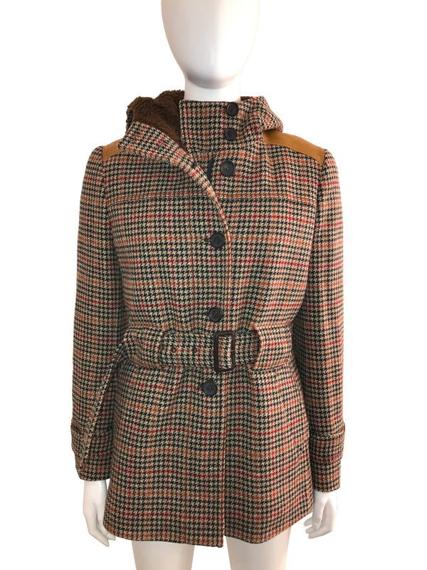 Houndstooth Belted Coat with Faux Fur Lining