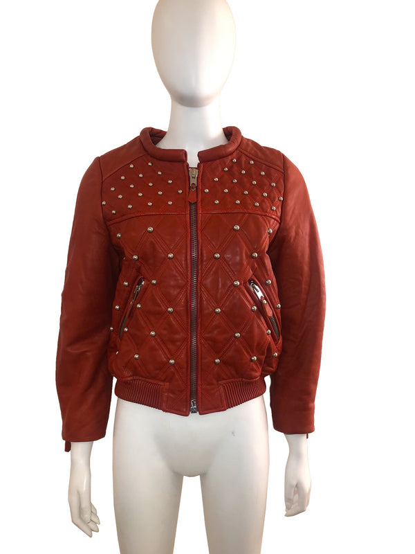 Red Studded Leather Quilted Bomber Jacket