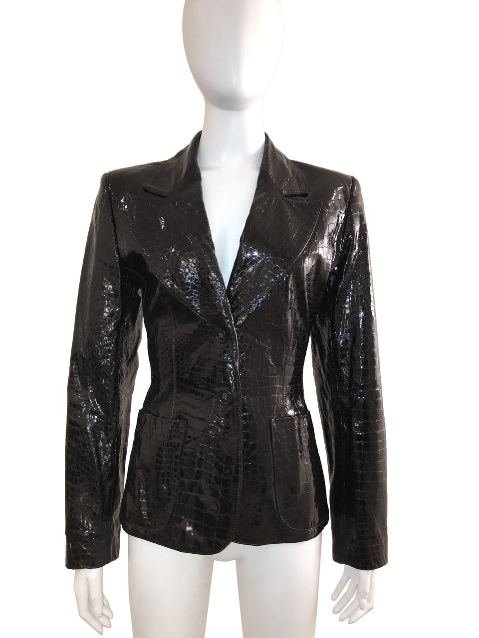 Croc Embossed Leather Peak label Blazer