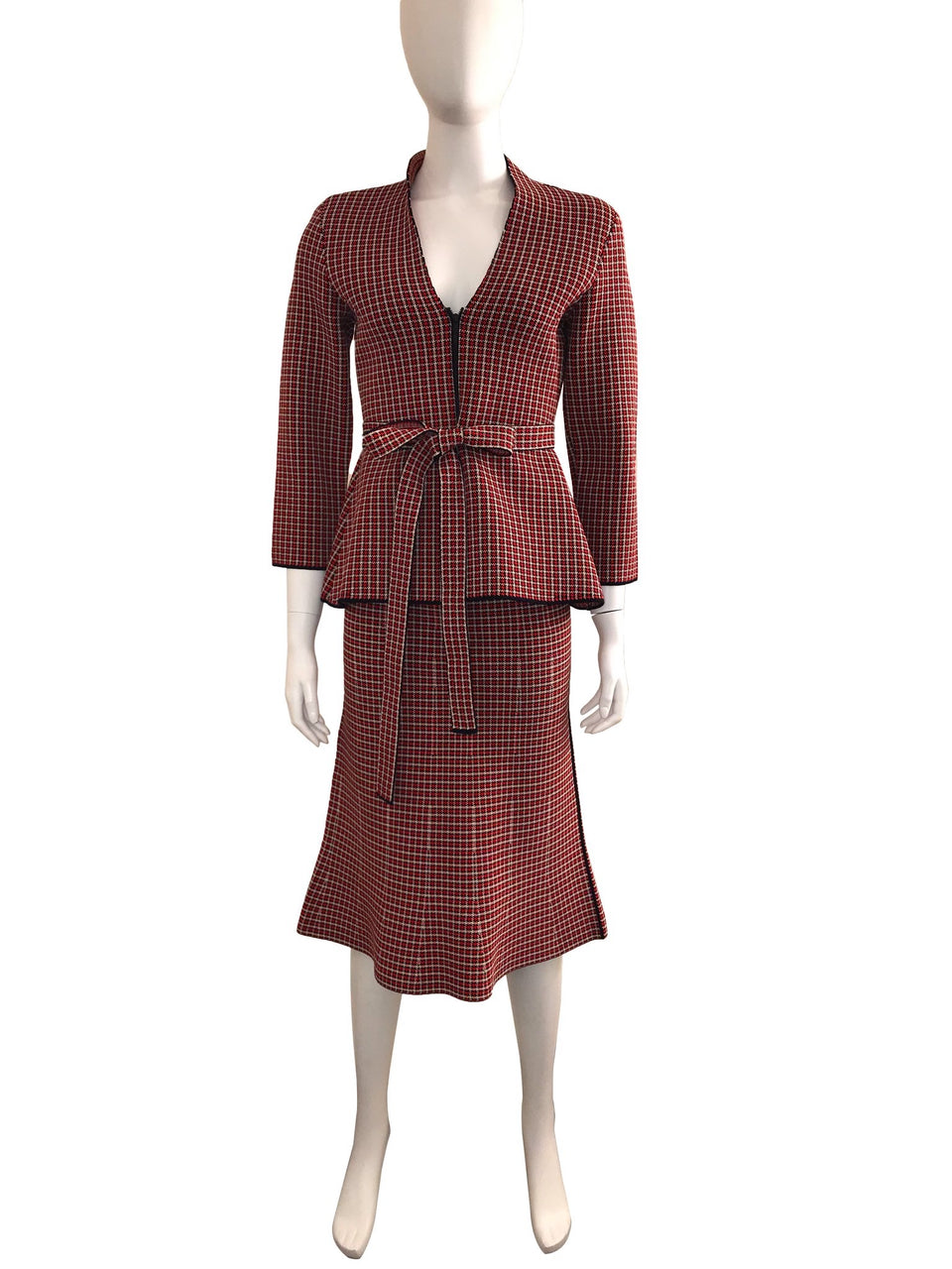 Knit Check 2-Piece Skirt Suit