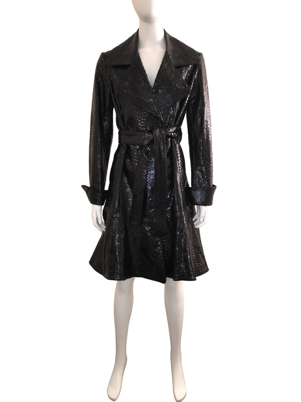 Python and Leather Belted Trench Coat
