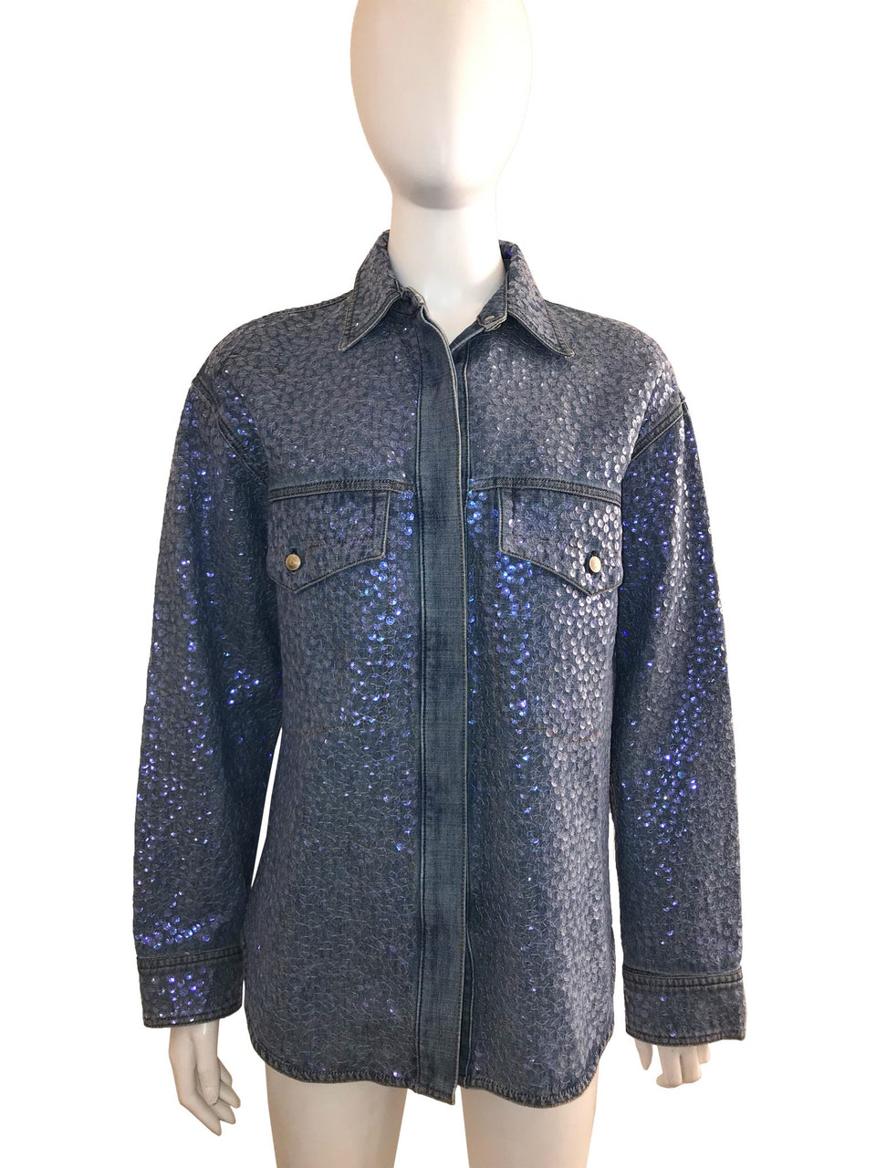 Sequin Embellished Denim Shirt