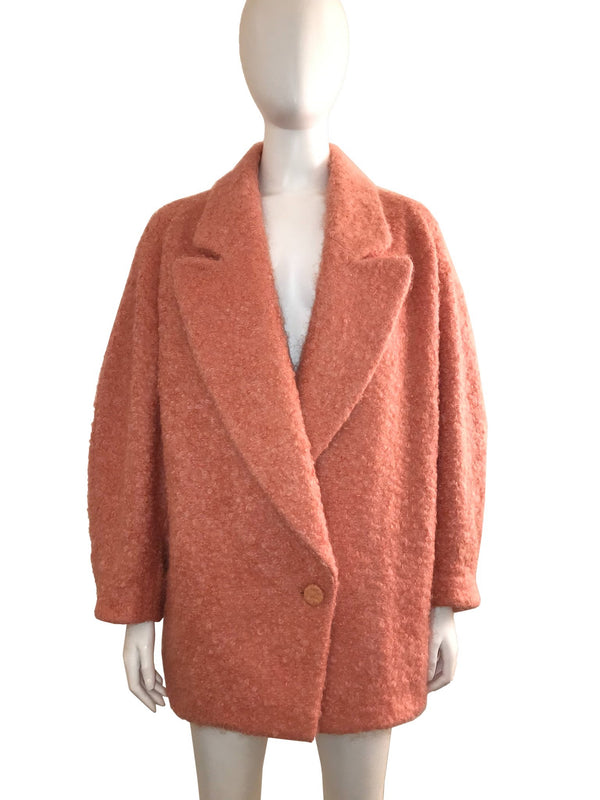 Pink Boiled Wool Oversized Coat