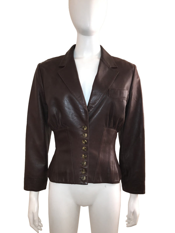 Corseted Brown Leather Jacket