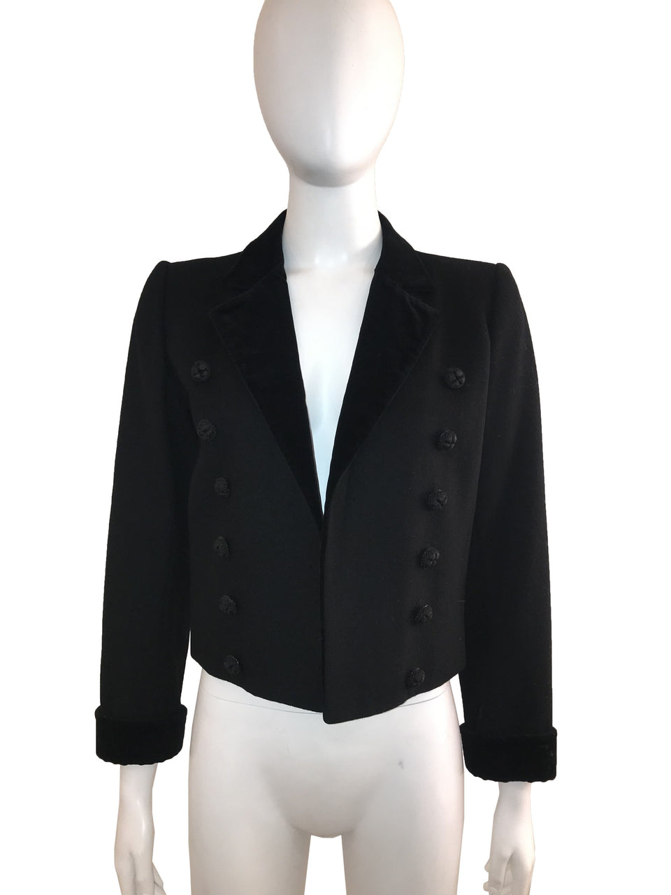 Black Velvet/Wool Tuxedo Cropped Jacket