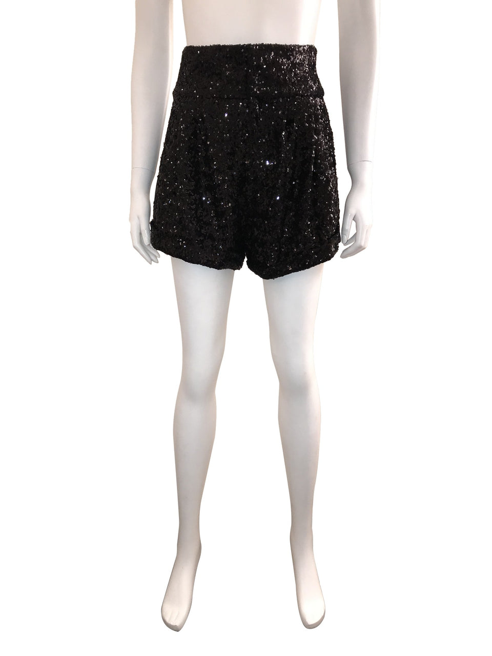 Black Sequin Cuffed Shorts