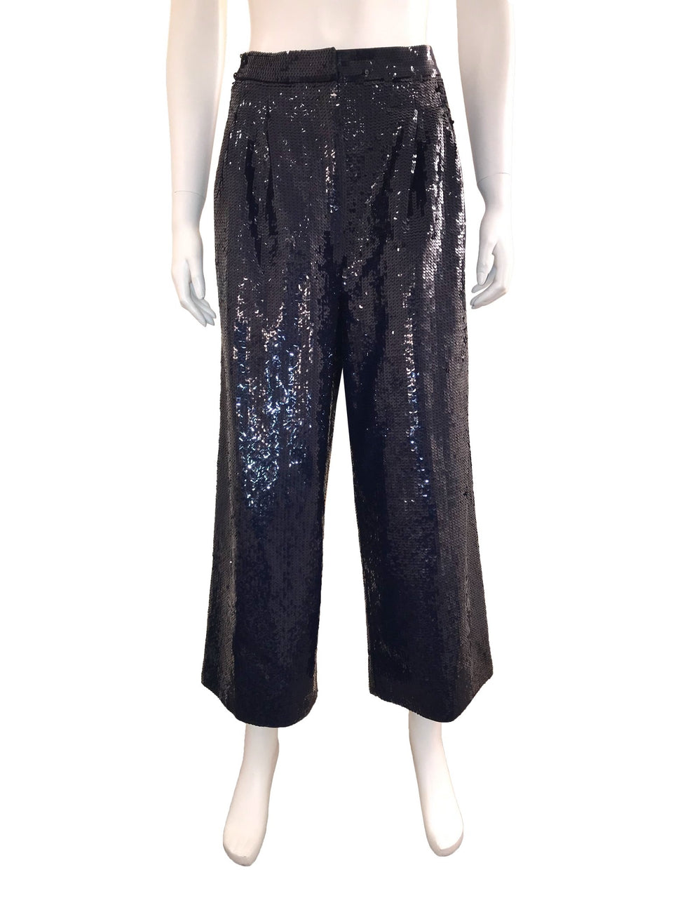 Navy Sequin Culottes with Pockets