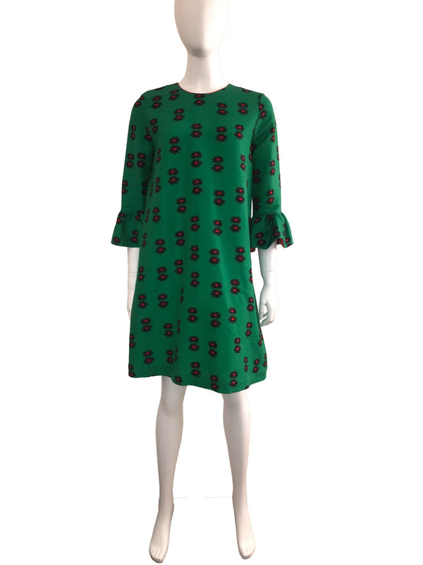 Green Floral Printed Dress with Bell Sleeve