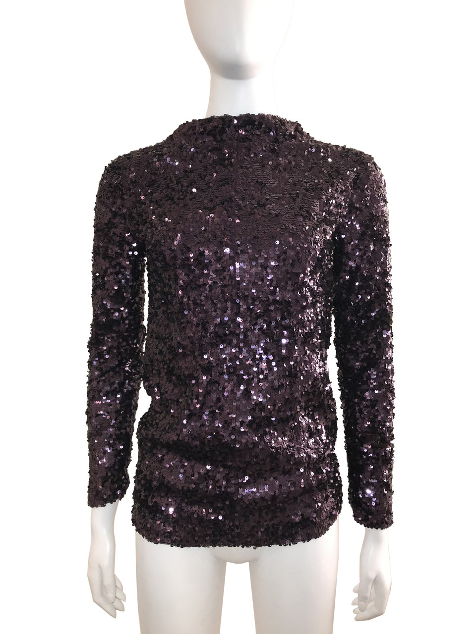 Eggplant Sequin Long Sleeve Top