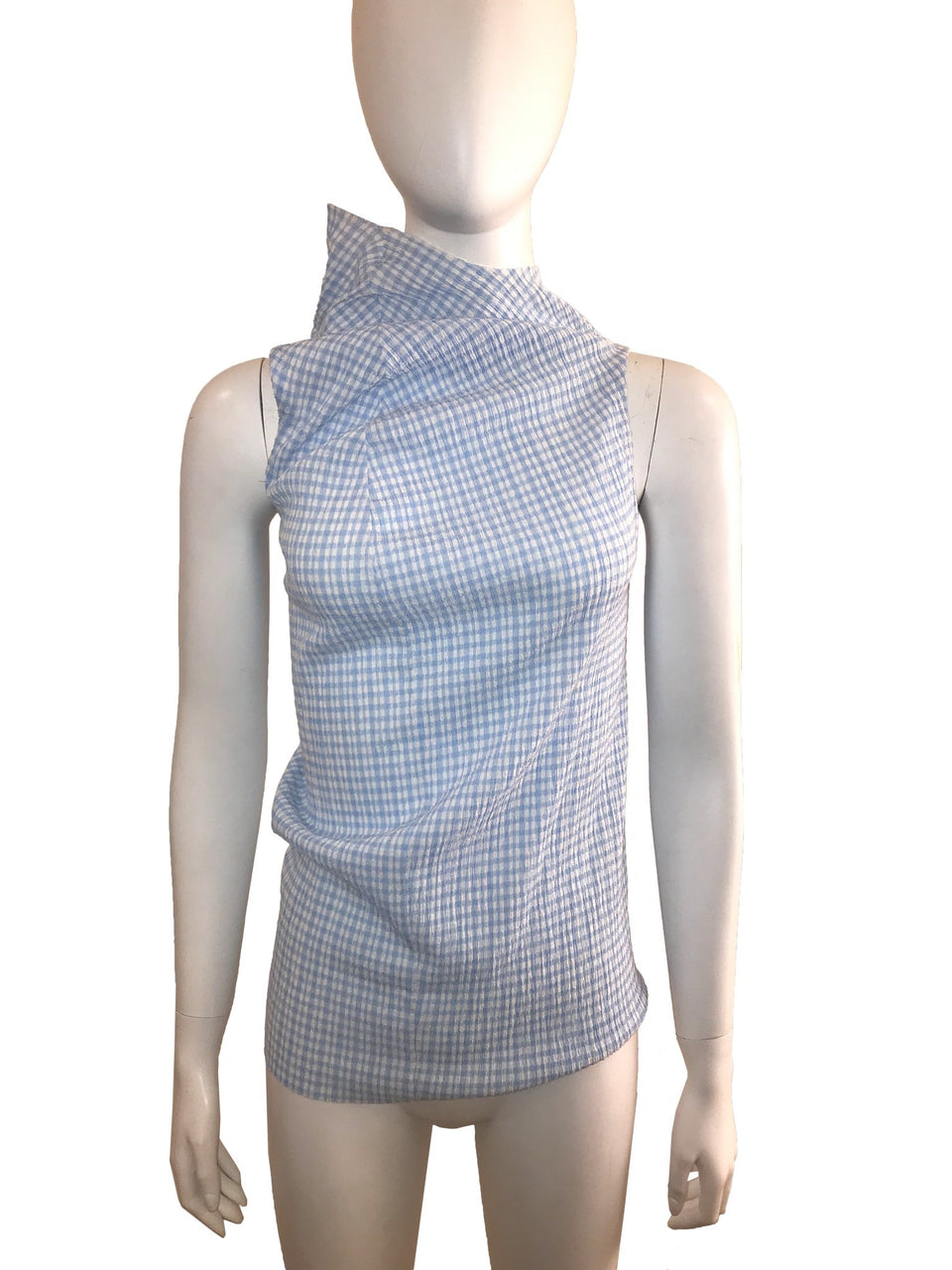 Gingham Asymmetric Neck Tank