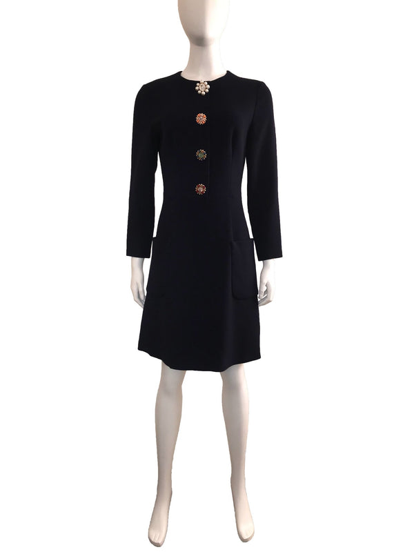 Navy Shift Dress with Floral Buttons