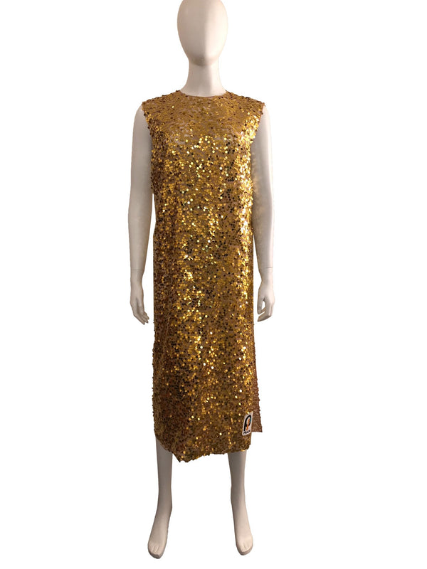 Gold Sequin Midi Dress