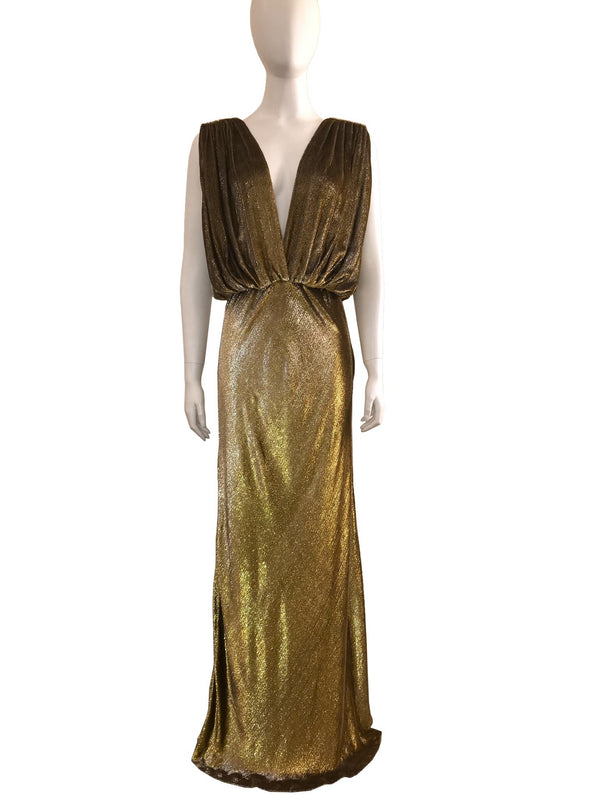 Textured Gold Plunged V-Neck Gown