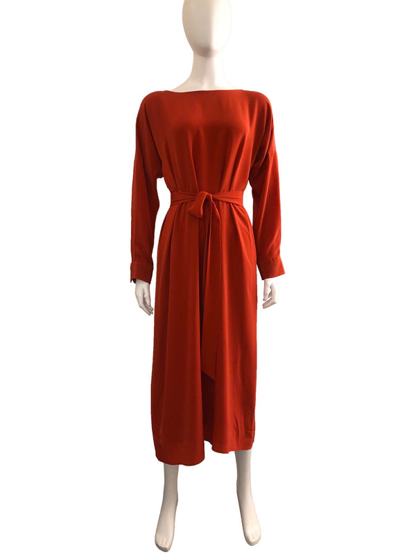 Belted Waist Silk Dress