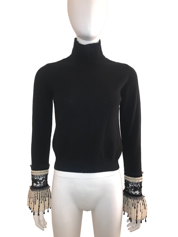Mock Neck Sweater with Beaded Cuff