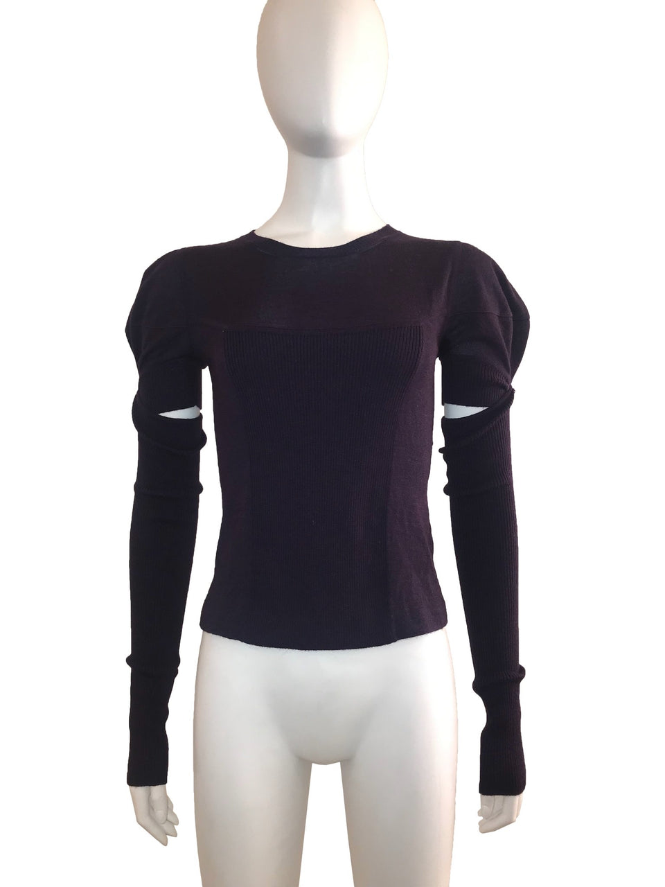 Crew Neck Sweater with Removable Cuff
