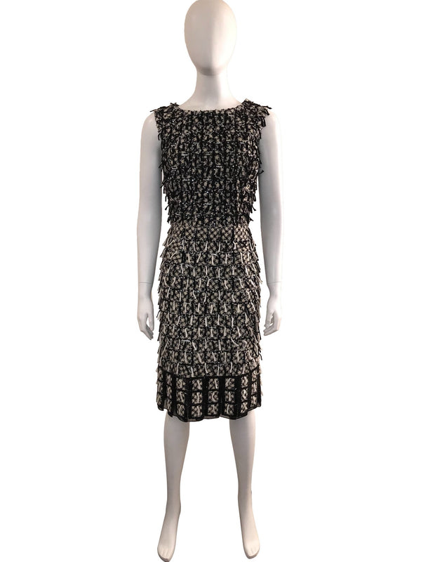 Sleeveless Wool Fringe and Sequin Tweed Dress
