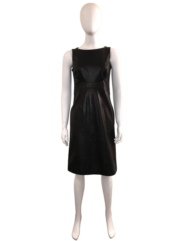 Sleeveless Leather Dress with Waist Detail