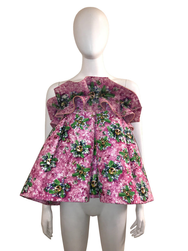 Box Pleated Floral Ruffled Top