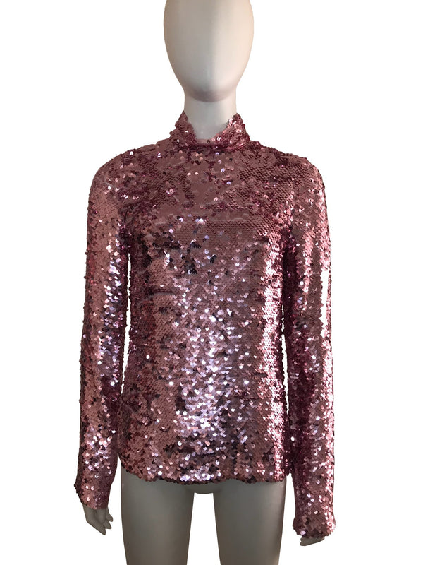 Sequinned Long Sleeve Turtleneck