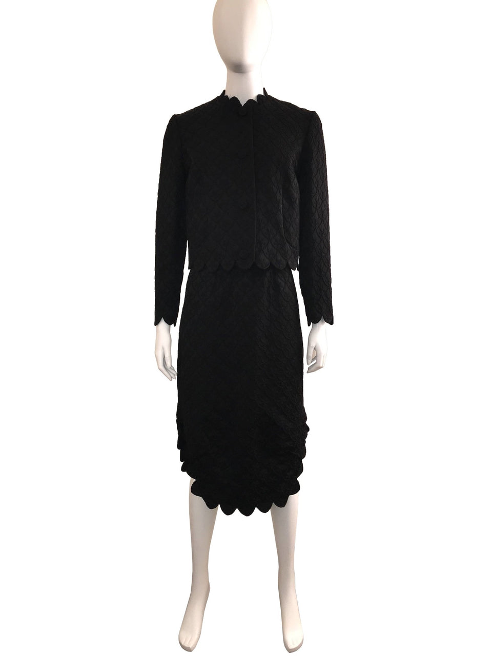 Textured Black Scalloped Edge 2-Piece Dress & Jacket
