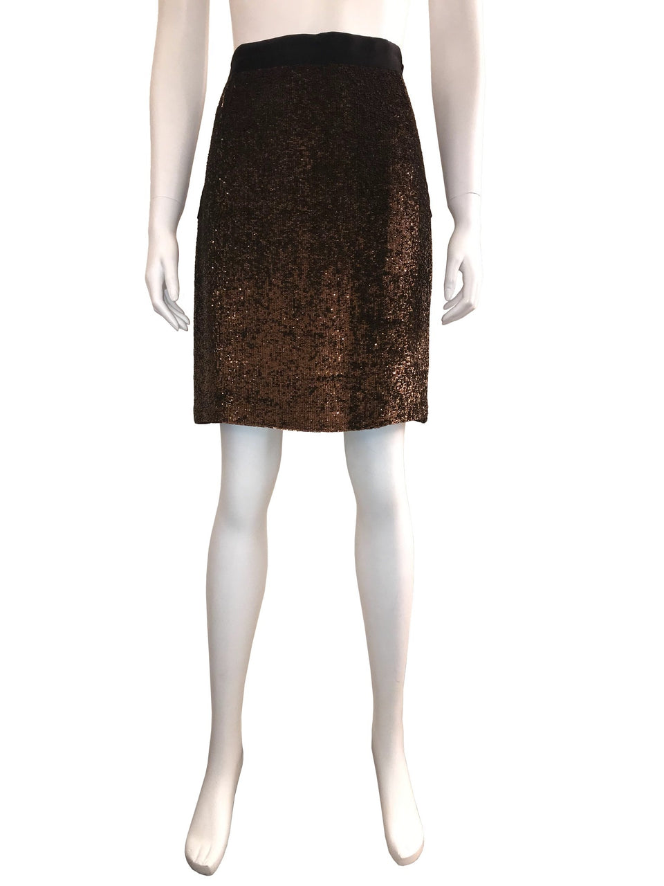 Sequin Pencil Skirt with Black Waistband