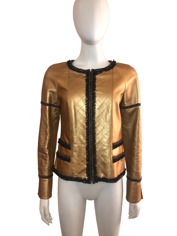 Gold Leather Jacket with black Piping