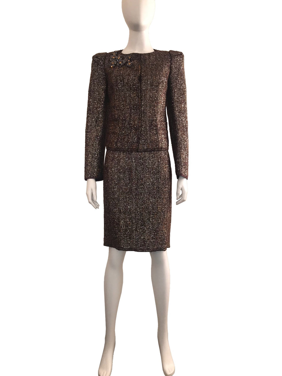 2-Piece Wool Skirt Suit with Embellishments on Front