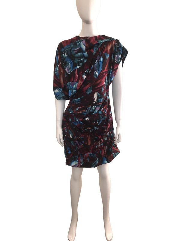 Printed Asymmetric Ruched Dress
