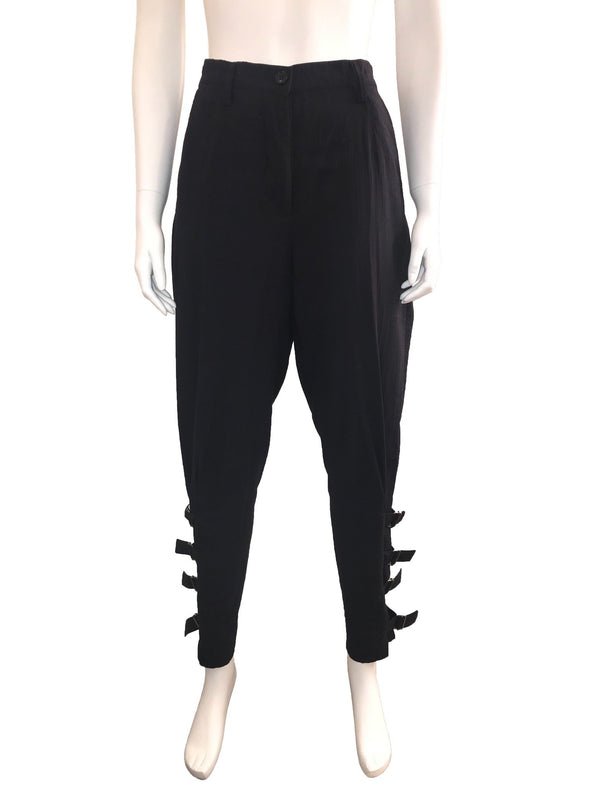High Waisted Cotton Pant with Belted Legs