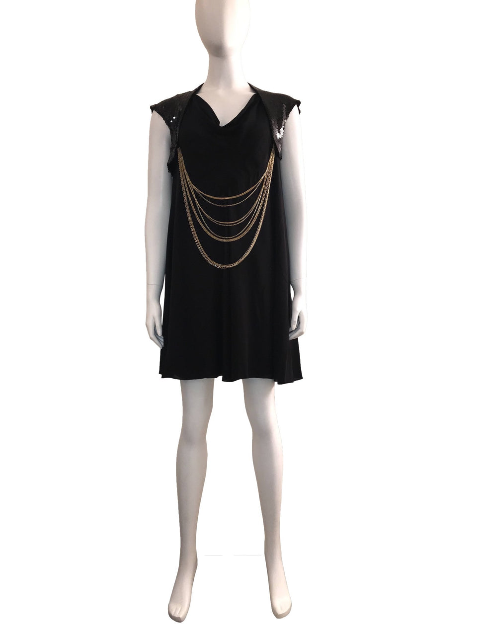 Sleeveless Dress with Sequin Bolero and Chain Detail