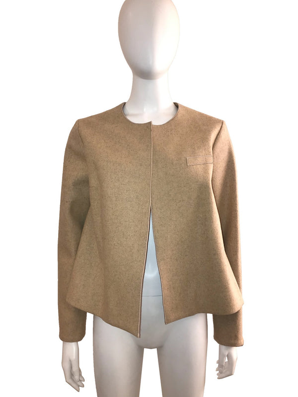 Textured Wool Jacket with Pleated Back