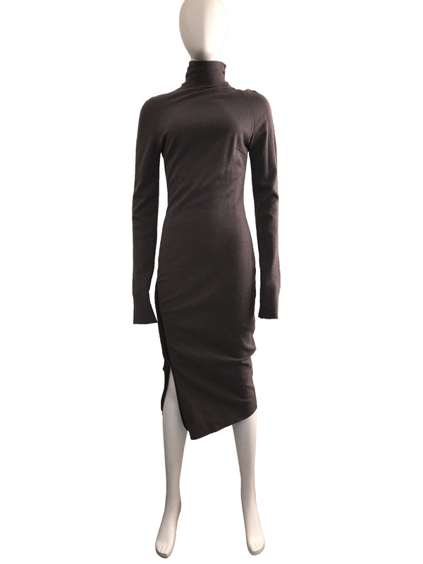 Boiled Wool Midi Length Turtleneck Dress with Zip