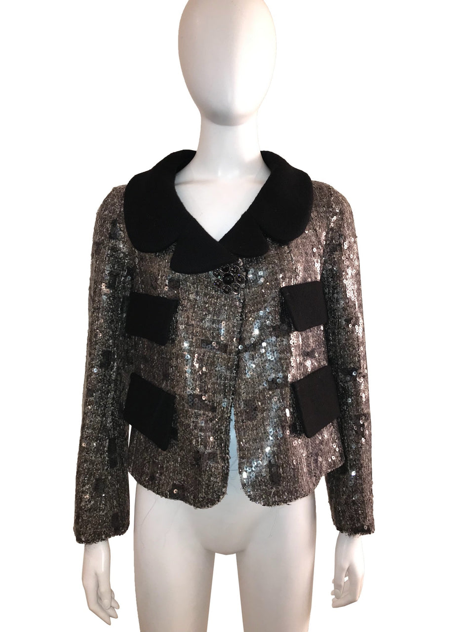 Sequin Cocktail Jacket with Black Wool Detail