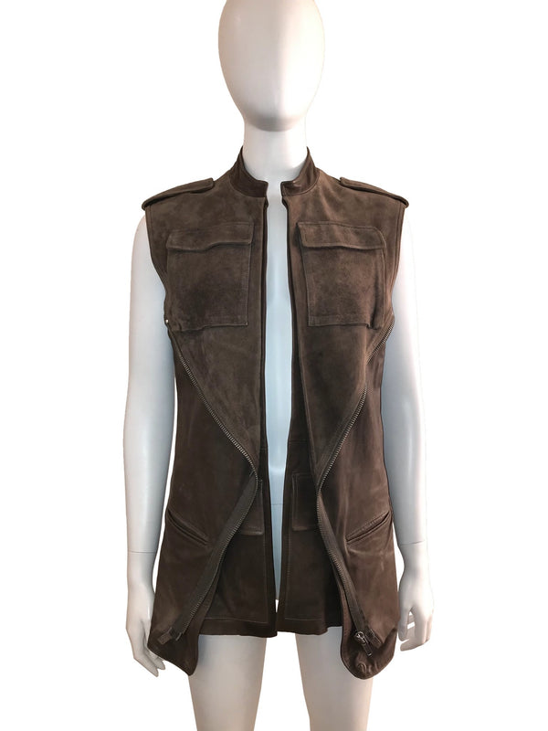 Double Layer Distressed Leather Vest