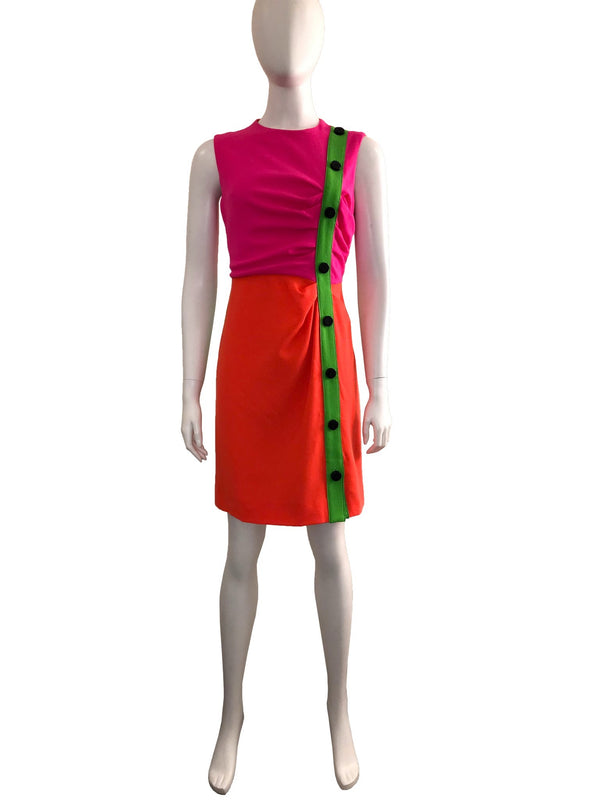 Colour-Blocked Sleeveless Dress