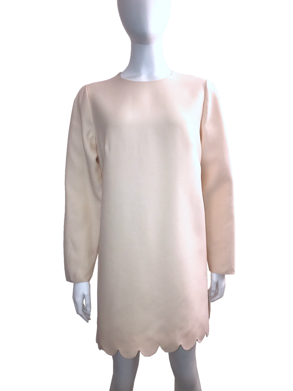 Valentino Ivory Scallop Detail Wool & Silk Tunic Top