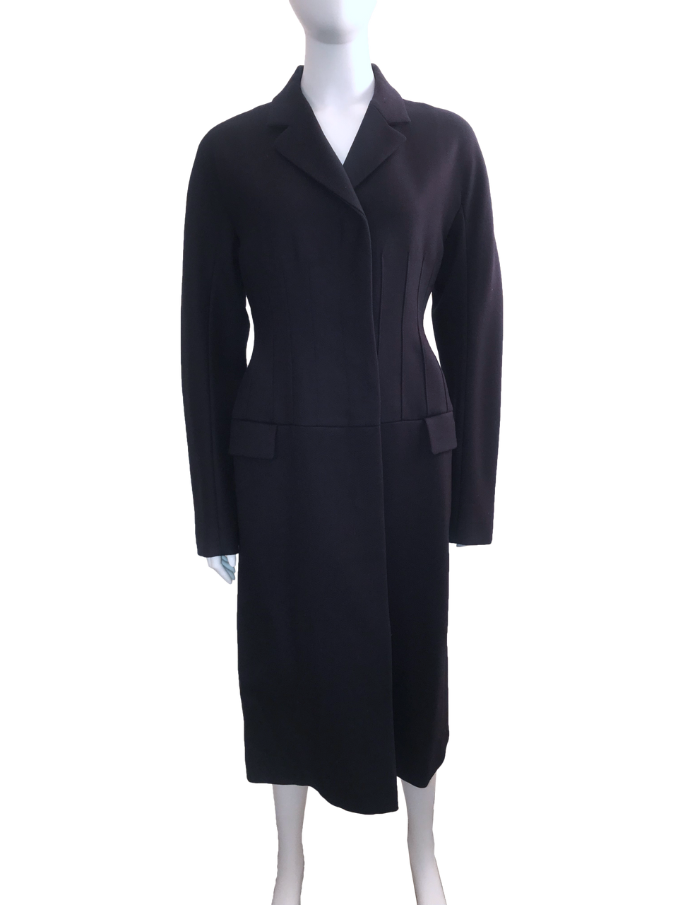 Corseted Navy Blue Wool Coat