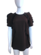 Lanvin Brown Short Sleeve Blouse with Ruffle