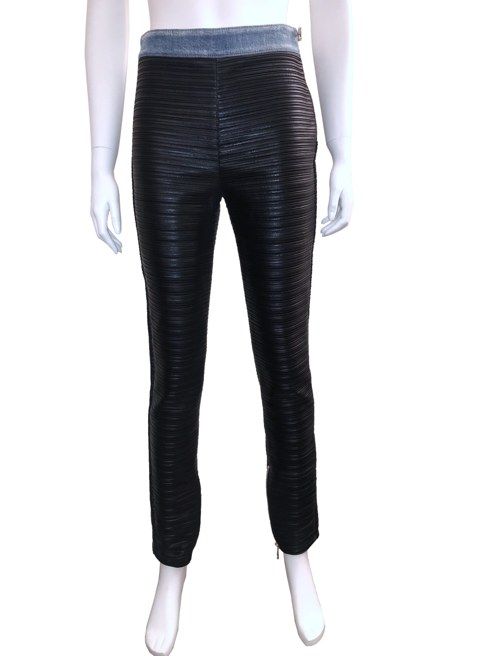 Pleated Faux-Leather And Denim Leggings w/ Tags