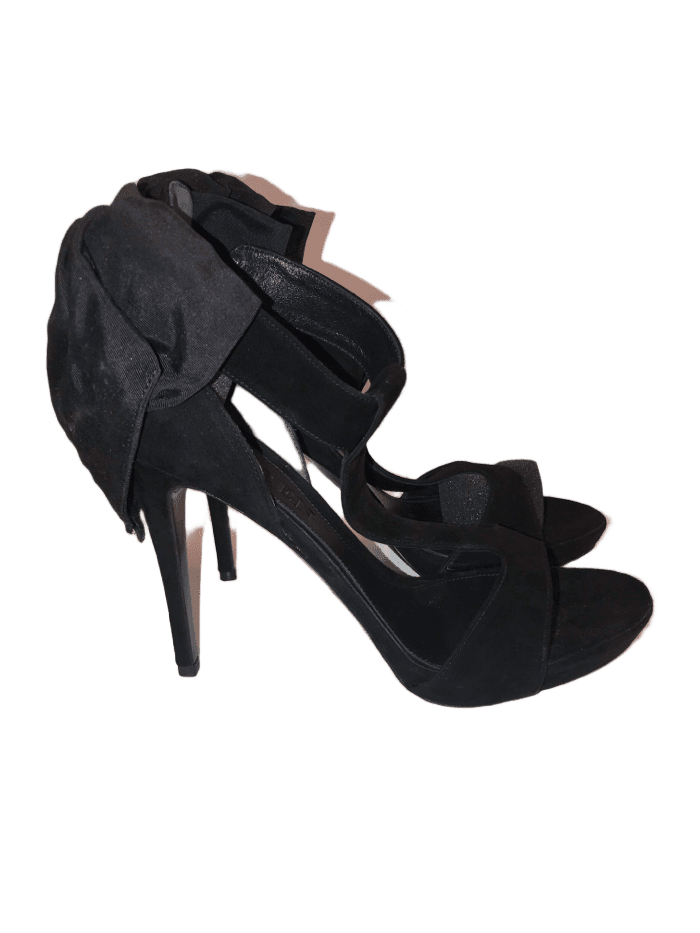 Suede Black Bow Back Heels