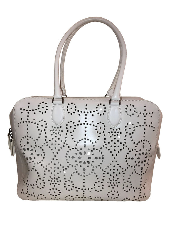 White Laser Cut Leather Handle Bag
