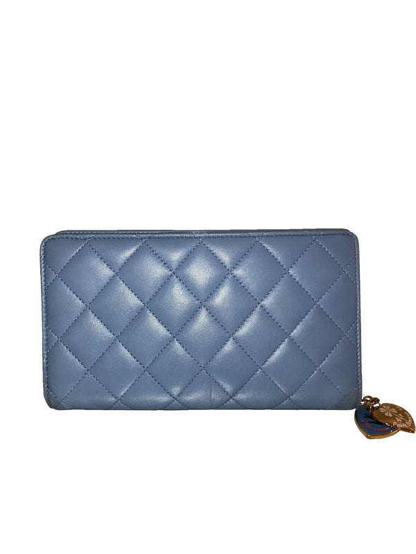 Blue Quilted Leather Wallet