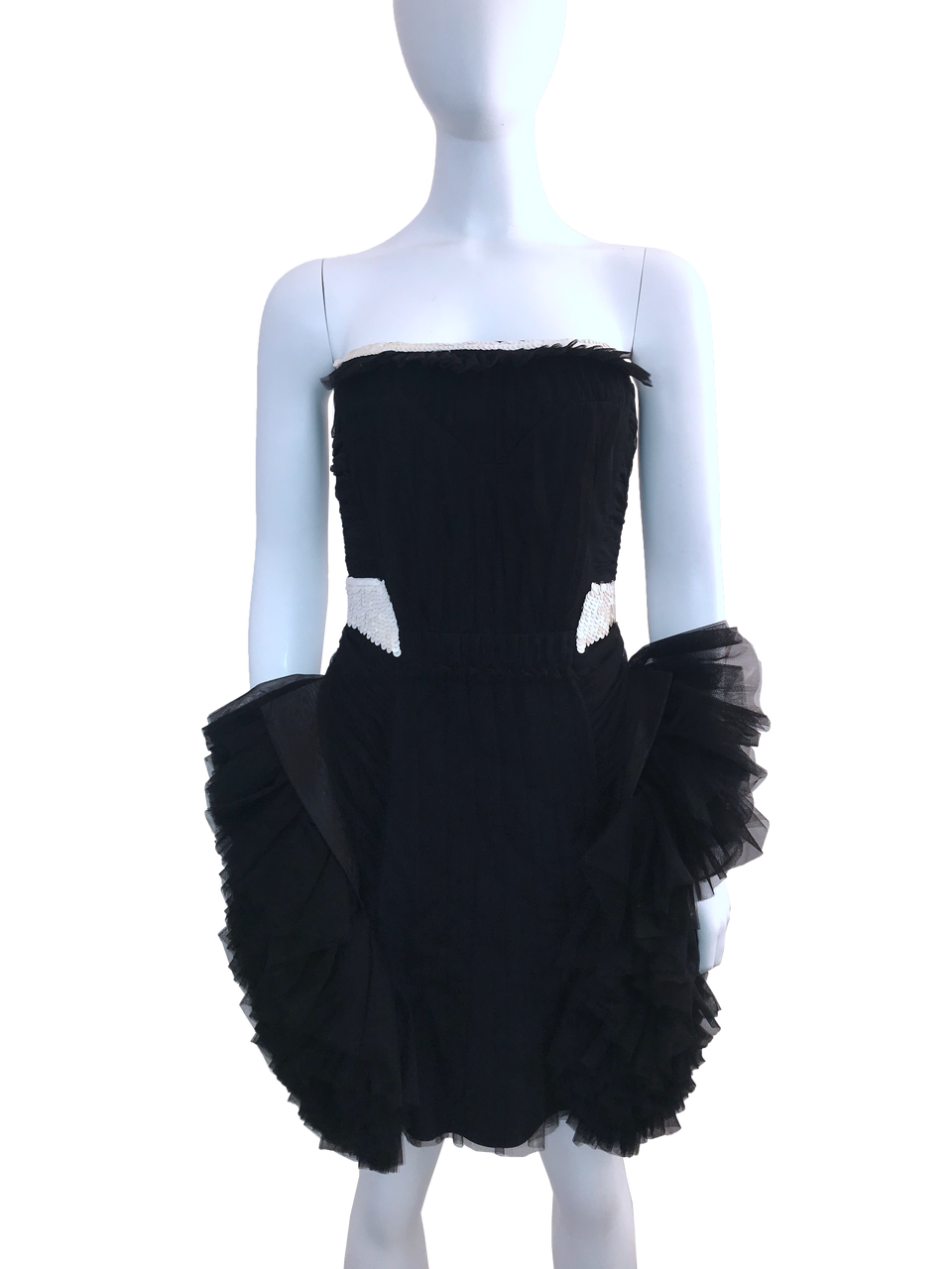 Viktor & Rolf Black Strapless Mini Ruffle Tulle Dress