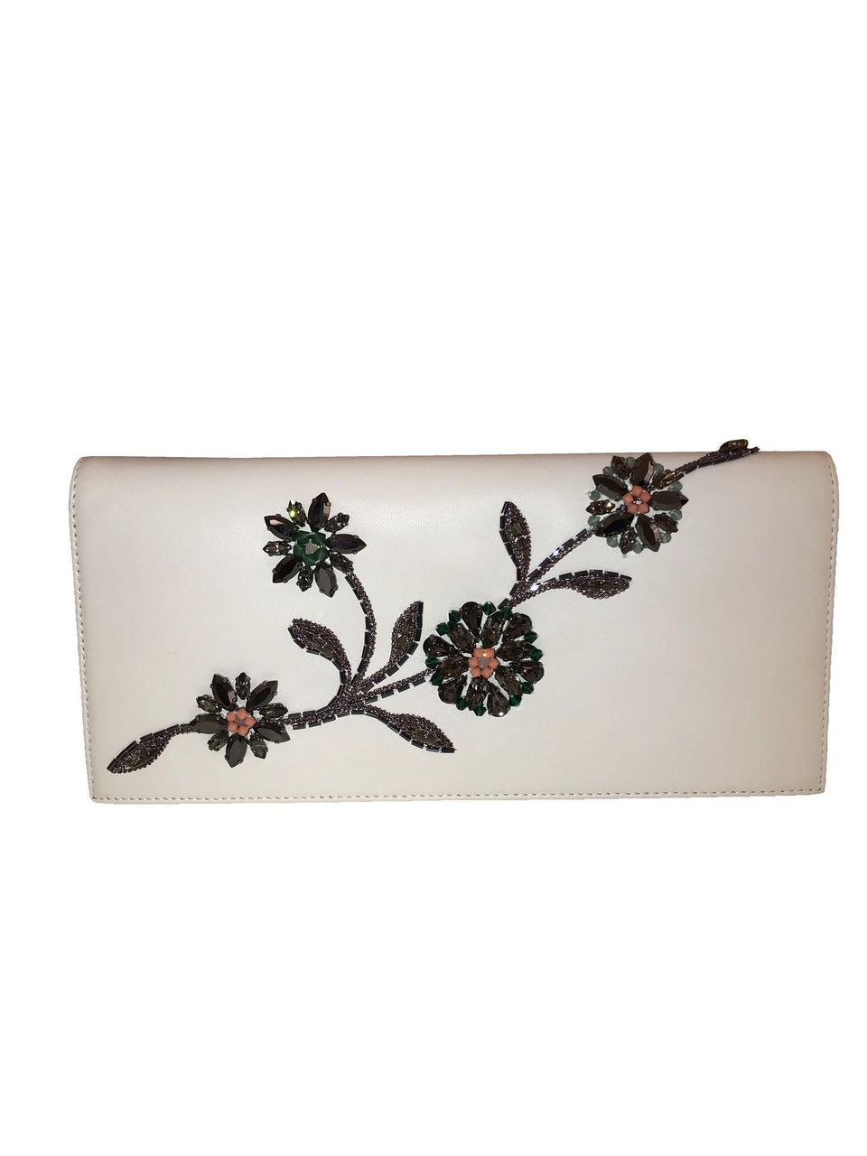 White Leather Embellished Clutch w/ Chain