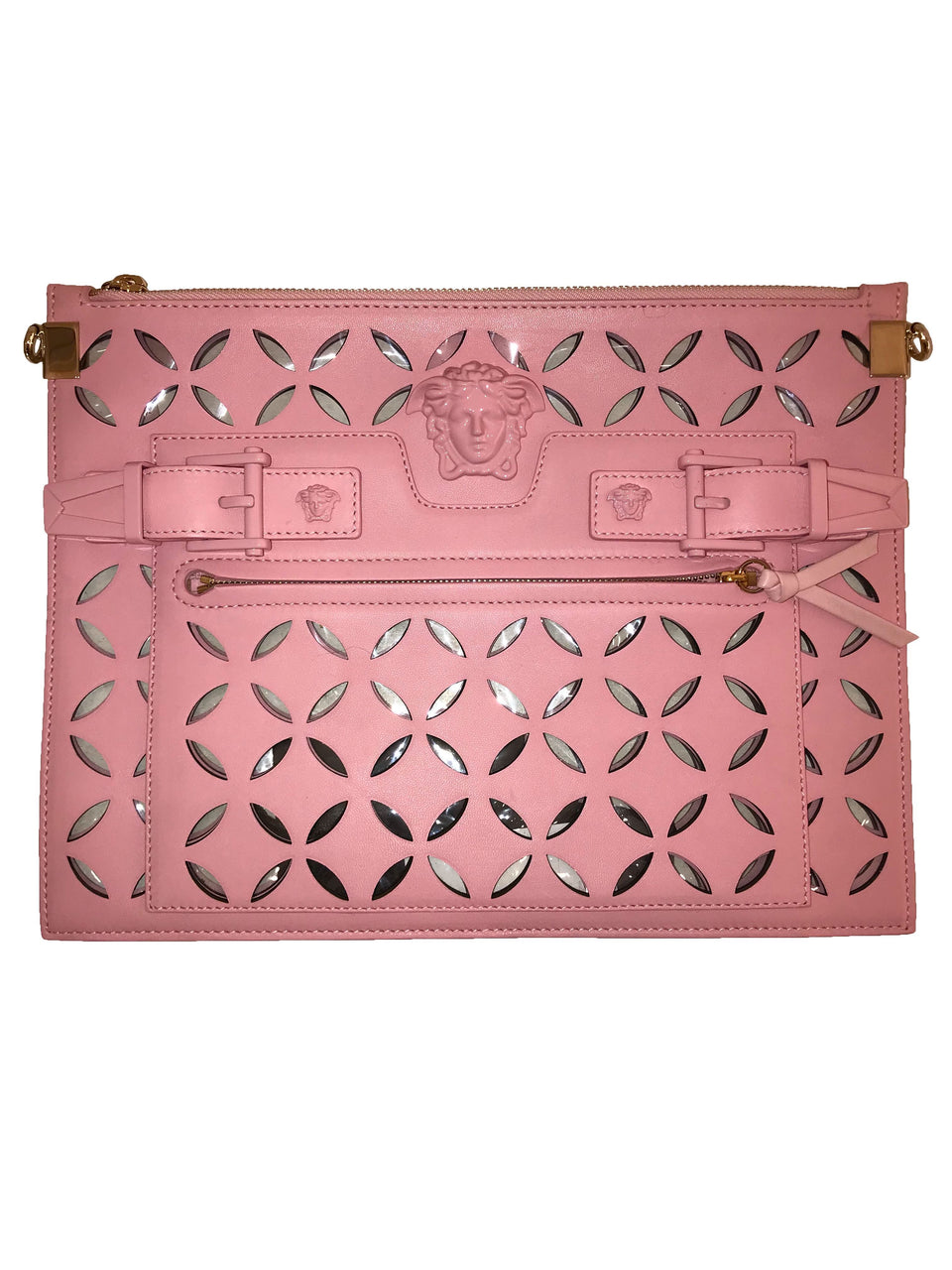 Versace Pink Laser Cut Leather Clutch