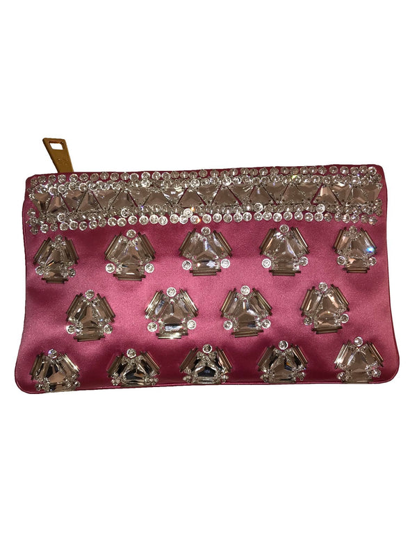 Prada Pink Embellished Satin Clutch
