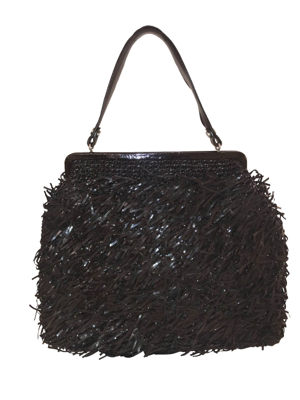 Brown Patent Fringe Handbag