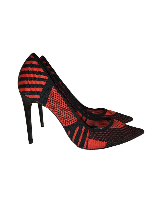 Orange & Black Fabric Pump