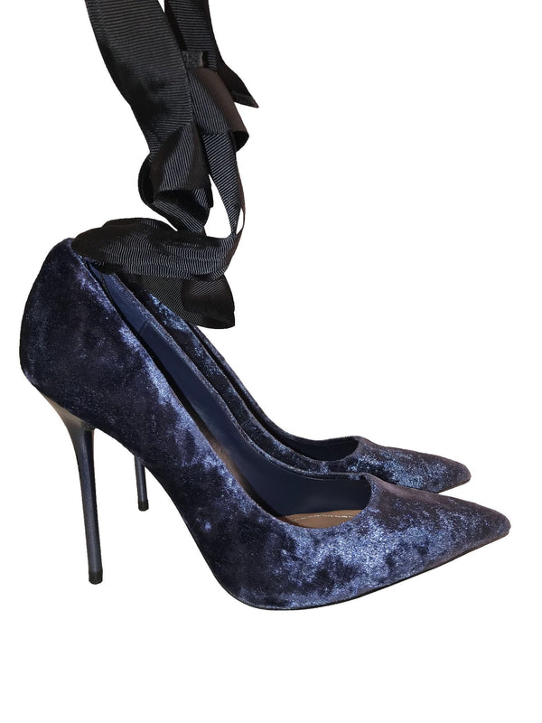 Crushed Velvet Ribbon Strap Pumps